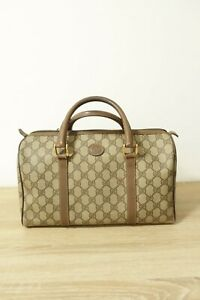 Authentic Gucci  Brown PVC Hand boston Bag #8846