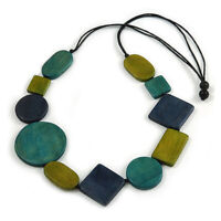 Geometric Wood Bead Black Cotton Cord Necklace in Blue/ Olive/ Teal - 86cm Long