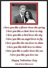 Valentines Personalised Photo & Poem A5 Print Boyfriend Girlfriend Gift Card