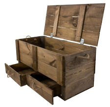 Dunkelbraue Holzkiste mit Deckel und zwei Schubladen, zur Aufbewahrung, neu