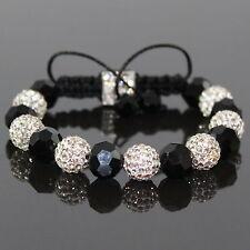 Damen Schwarz/Weiß Shamballa Armband Kristall, von Nilschmuck,für Frauen