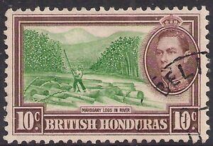 British Honduras 1938 - 47 KGV1 10ct Brown & Green used SG 155 ( F1115 )