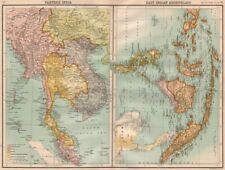 "INDOCHINA/EAST INDIES. Shows ""Siamese (Thai) Guaranteed Territory"" 1898 map"