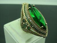 Turkish Handmade Jewelry 925 Sterling Silver Emerald Stone Women Ring Sz 7