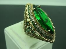 925 Sterling Silver Handmade Turkish Jewelry Cocktail Emerald Ring 9