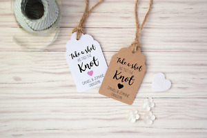 Take a Shot, We tied the Knot, Personalised Wedding Favour Drink Tags with Twine