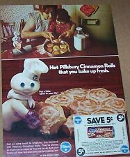1971 print ad - Pillsbury cinnamon rolls Doughboy girl mom family advertising