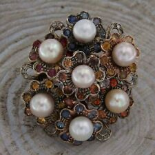 Ring Flowers rose gold PEARLS TOPAZ DIAMONDS ring Maxi Theme Floral Flower