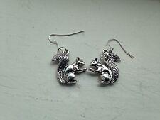 Silver Tone Squirrel Drop Dangle Hook Earrings Autumn