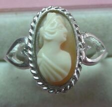 Estate Handcrafted Genuine Italian Cameo 12x6mm  Silver 925 Ring skaisMI17