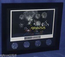 Walt Disney World Framed Four Park Coin Set New Lithograph 9 Inch x 11 Inch
