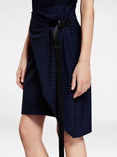 $295 NWT DKNY Sz12 PINSTRIPE PENCIL SKIRT WITH SIDE SLIT AND ZIPPER DETAIL NAVY