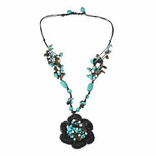 Sweet Turquoise-Tiger's Eye-Pearl Flower Necklace