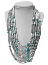 Sade Multi-Strand Statement Bib Necklace - Silver, Turquoise