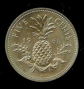 1968 Bahamian Nickel Bahamas Islands Five Cent Coin Pineapple Queen Elizabeth II