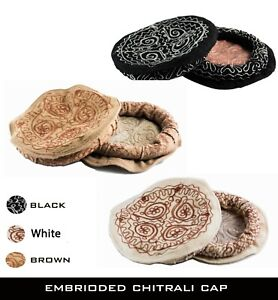 Afghan Pakul Embriodered Chitrali topi Wool Cap Pakol Peshawari Hat چترالی ٹوپی