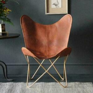 BUTTERFLY CHAIR - Tan Leather - Gold Base Industrial retro occasional Chair