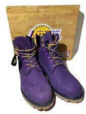 Timberland X NBA LA Lakers 6-Inch Waterproof Men's Size 8.5 Purple Nubuck Boots