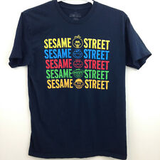 Sesame Street Spell Out T Shirt Mens Large Navy Blue Rainbow Multicolor 2015