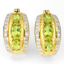 Ohrringe Creolen Peridot Diamant 925 Silber 585 Gelbgold vergoldet