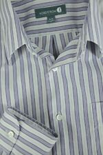 Nordstrom Men's Purple & White Striped Cotton Tailored Fit Dress Shirt 16 x 34