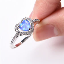 White Gold Hollow Heart Blue White Opal Wedding Promise ring Women Jewelry
