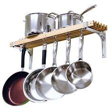 Pot And Pan Rack Lid Wall Mount Wooden Kitchen Hanging Storage Organizer Utensil