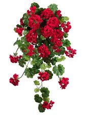 "47"" Water-Resistant Geranium Hanging Bush Red (Pack of 2) Artificial Flower Silk"