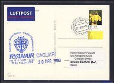 59083) Irland Ryanair FF Karlsruhe - Cagliari Italien 30.3.2009 Karte 65c Blumen