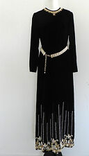 Vtg Evening Gown Maxi dress Black Velvet Beading Size L. Las Vegas Sahara Hotel