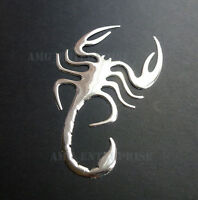 Self Adhesive Chrome Effect Scorpion Badge Decal for Cars Bikes Quads 4x4 SUV