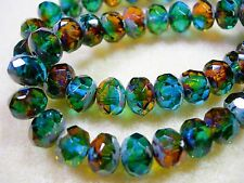 25 beads 8x6mm Green Gold Capri Blue Picasso Czech Firepolished Rondelle beads