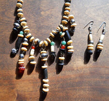 Vtg Native Tribal Bone-Silver-Carnelian-Jade-Bead NECKLACE & EARRINGS Tibetan?