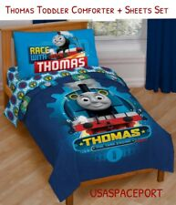 4pcs Thomas Train Toddler Bed-in-a-Bag Comforter+Sheets Set Boys/Girls Room Crib