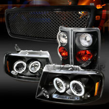 04-08 F150 Black Dual Halo LED Projector Headlights+Tail Lamps+Mesh Grille