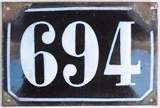 Large old black French house number 694 door gate plate plaque enamel metal sign