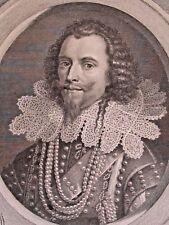 Georges Villiers Duc Buckingham par Van der Werff, grav. Simonneau XVIIe S.