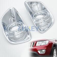 Chrome Front Fog Light Lamp Cover Trim Bezel Insert Frame For Jeep Compass 11-14