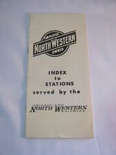 Chicago and North Western Vintage Map index to Railroad Train Stations  T*