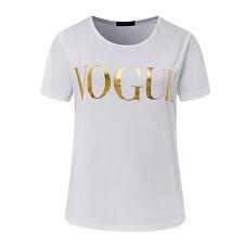 Women's Ladies T Shirt VOGUE Printed Loose Tops Short Sleeve Blouse Summer