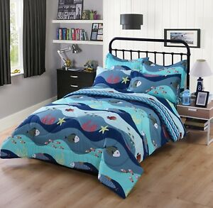 5/7 Pcs Kids Comforter Set Girls Comforter Kids Bedding Set Twin/Full,Q_276 Fish