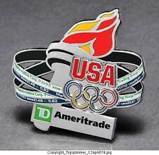 OLYMPIC PINS 2012 LONDON ENGLAND UK TEAM USA AMERITRADE SPONSOR TORCH RELAY RARE