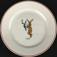 VTG Dessert Plate Santa's Reindeer Cupid Christmas by LTD Commodities ABC