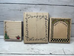 Lot 3 Christmas WOOD RUBBER Stamps Cute Christmas Tree Frame Style