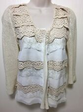GIMMICKS BKE BUCKLE WHITE CREAM LACE EMBROIDERED CARDIGAN LAYERED SWEATER M