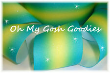 """3"""" Glitter Double Ombre Cheer Grosgrain Ribbon 4 Tic Toc Bow Hairbow Aqua Yellow"""