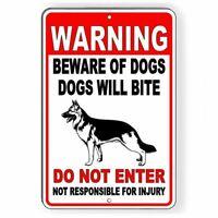 WARNING Beware Of Dogs Will Bite Do Not Enter German Shepherd Metal Sign
