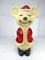 "Vintage Union Products Hard Plastic Blow Mold Santa Christmas Mouse 15"""