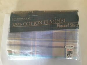 Vintage EVERWARM 100% Cotton Flannel Sheet. TWIN FITTED. Made in Portugal. NEW