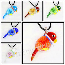 6 Pcs Lovely bird Crystal Murano art glass beaded leather pendant necklace